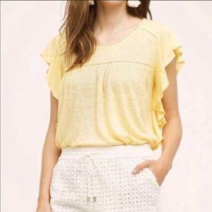 {Anthro} Deletta ruffle linen yellow top